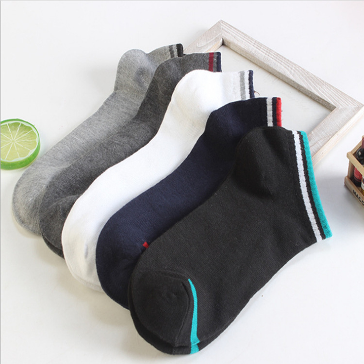 Socks Men's Spring And Autumn Breathable MAN'S Boat Socks Stripes All Move College Style MEN'S Socks Low Top Low-Cut Hidden Sock