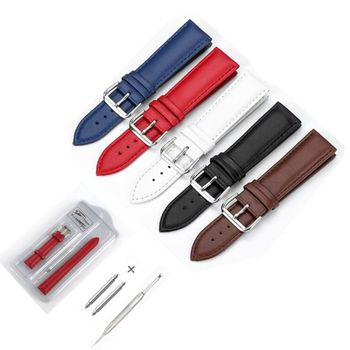 Genuine Leather strap Watch band 12mm 14mm 16mm 18mm 20mm 22m 24mm Watch Accessories Black Brown Red Blue White High Quality 18mm 24mm watch band strap brown black high quality genuine leather watchbands bracelet accessories deployment buckle