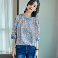 100% Silk Blouse Women Shirt Printed Patchwork Simple Design O Neck Long Sleeves Translucent Fabric Casual Top New Fashion