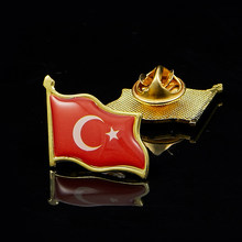 1PC Turki Bendera Pola Enamel Pin Lencana Retro Syal Pakaian Tas Perhiasan(China)