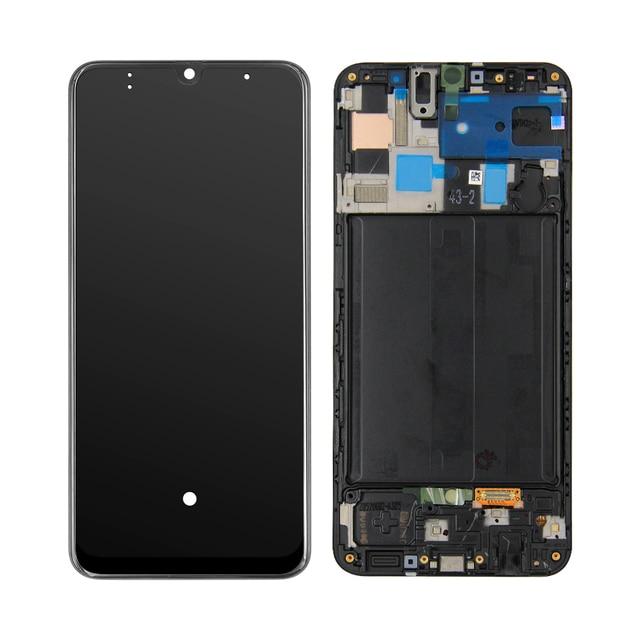 AAA LCD عرض لسامسونج غالاكسي A50 A505 SM A505F A505DS A505F A505A LCD عرض تعمل باللمس محول الأرقام الجمعية + الإطار