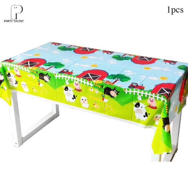 Meninos crianças fazenda tema animal toalha de mesa capa festa de aniversário utensílios de mesa balão caixa de doces placa de bandeira copo fontes de festa