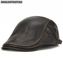 SHALUOTAOTAO Trend Genuine Leather Hat For Men Autumn Winter Fashion Cowhide Berets