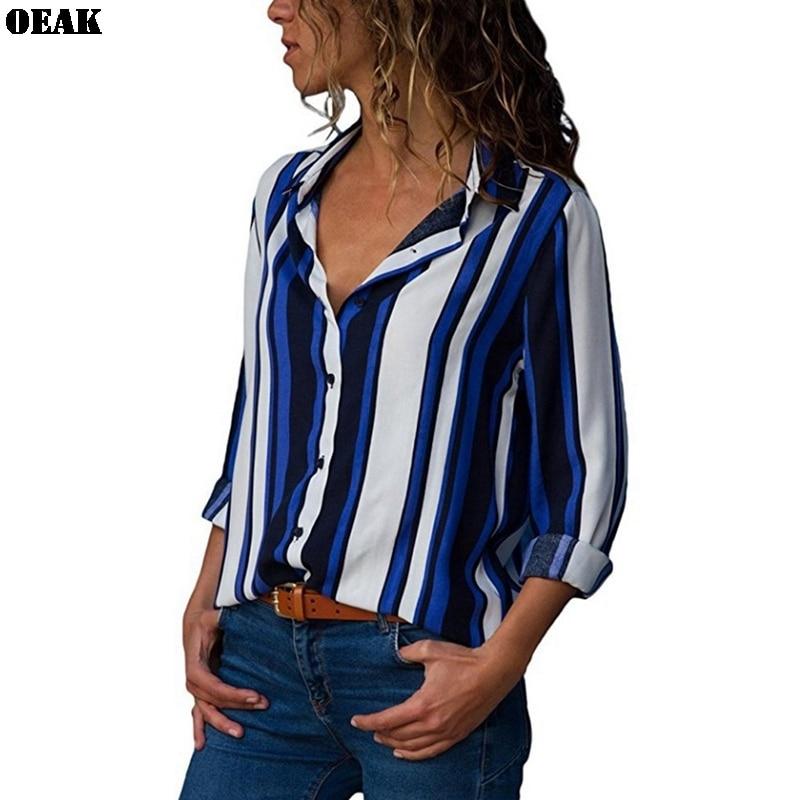 Oeak Women Blouse Shirts 2019 Autumn Ladies Harajuku Long Sleeve V-neck Button Floral Striped Print Tops Plus Size S-5XL