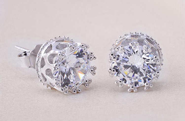 Joyería de moda 8MM corona redonda 2 quilates Zirconia cúbica cristal plata Stud pendientes para mujer