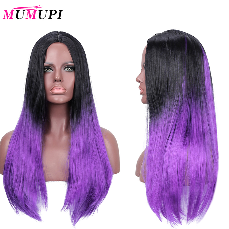 MUMUPI Long Straight Purple Grey Red Pink Ombre Black Synthetic Wigs For Women Cosplay Hair Heat Resistant