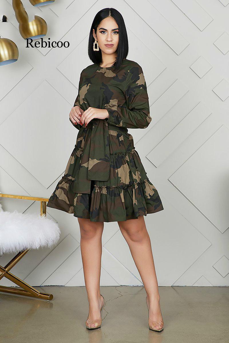 Camouflage A-Line Green Dress Full Sleeve O Neck Women Streetwear Dress With Belt Autumn New Vocation Short Dress