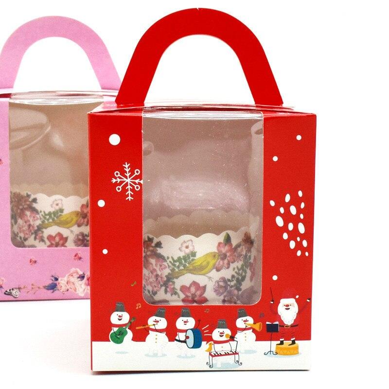 50 pièces boîte à Cupcake avec poignée de fenêtre cirque licorne fleur de noël boîte de cadeau de mariage emballage tasse gâteau Kraft boîtes d'emballage - 3