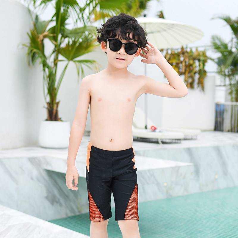 2019 New Style Hot Sales KID'S Swimwear Swimming Trunks Solid Color High-waisted Ultra-stretch Quick-Dry Short Handsome Children