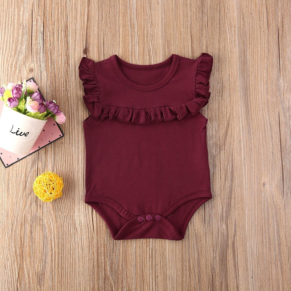 New Summer Jumpsuit For Newborns Baby Girl Bodysuit Clothes Toddler Rompers Clothing Ruffled Sleeveless Bebe Infant Clothing