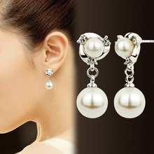 Luxury Double Layer Pearl Earrings Crystal Long Tassel Stud Golden Silvery Earring Women Girl Trendy Jewelry Christmas Gift(China)