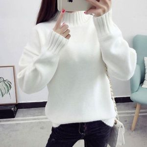 Casual Turtleneck Pullover Sweaters Women 2020 Autumn Winter Long Sleeve Warm Knitted Jumper Elegant Loose White Female Sweaters