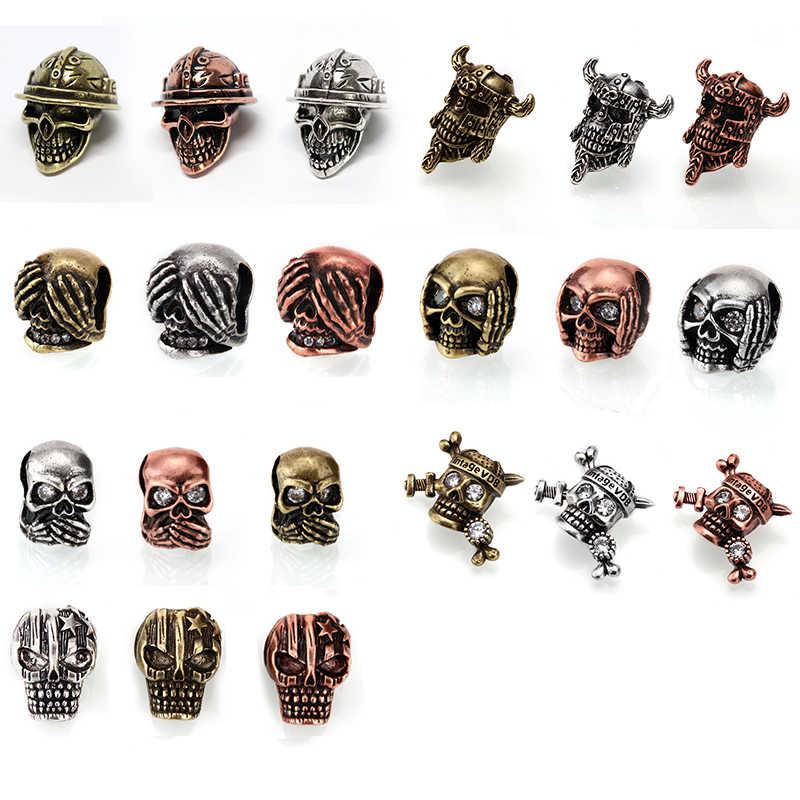 Metalen Kralen voor Sieraden Maken Schedel Kraal van Bronze.7 Mm Gat Schedel Paracord Spacer Kralen voor Uw Lanyards Armband Ketting