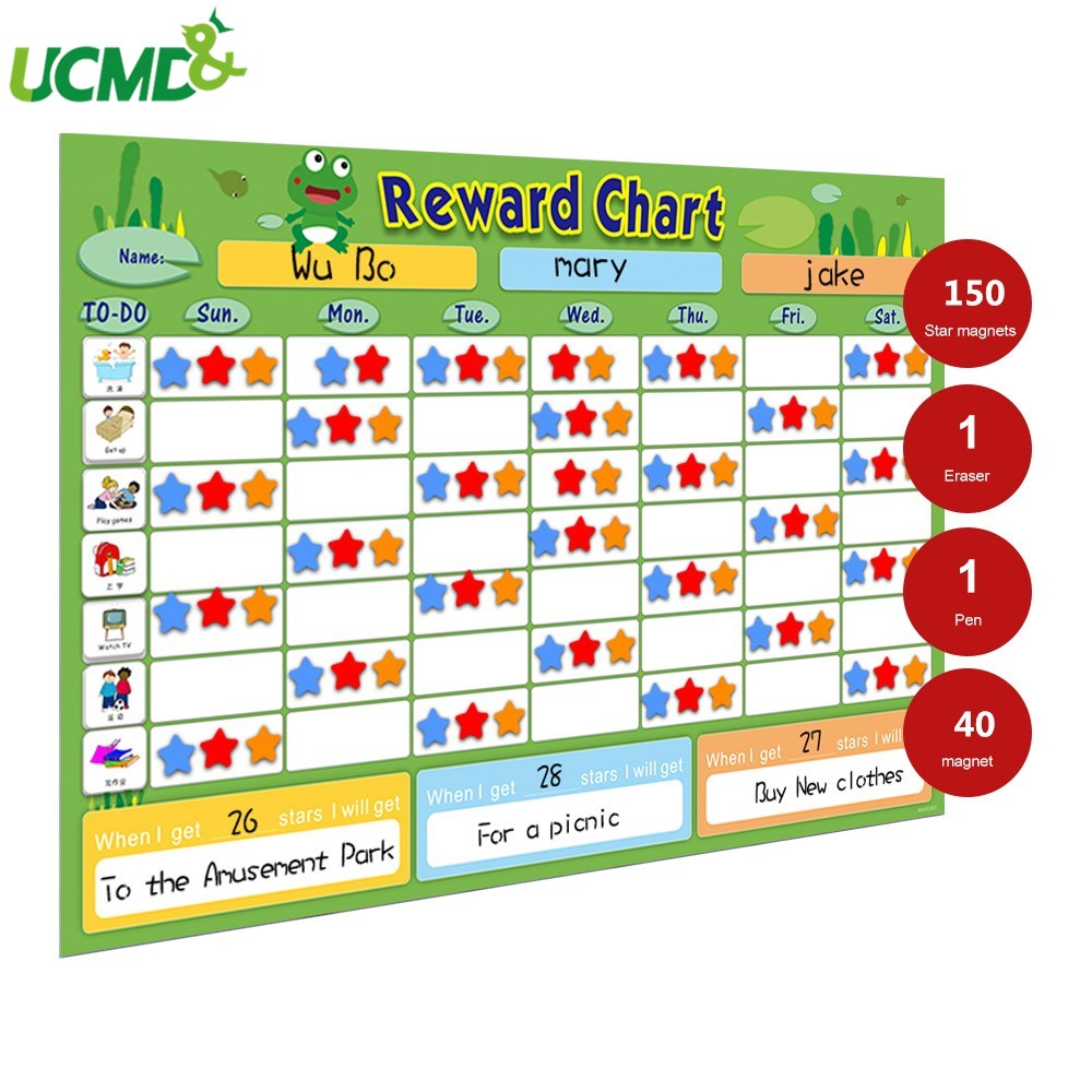 Multiple Children Star Reward Growth Chart Daily Routine Responsibility Behavior Chore Chart Calendar Schedule For Kids Toy Gift Decorative Growth Charts Aliexpress