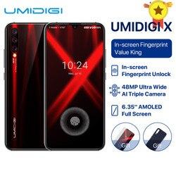 Перейти на Алиэкспресс и купить 2019 new global version umidigi x in-screen fingerprint 6.35дюйм. amoled 48mp 6gb+128gb nfc helio p60 octa core 4150mah mobile phone