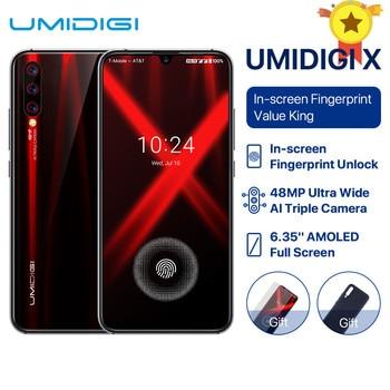 "2019 new Global Version UMIDIGI X In-screen Fingerprint 6.35"" AMOLED 48MP 6GB+128GB NFC Helio P60 Octa Core 4150mAh Mobile phone"