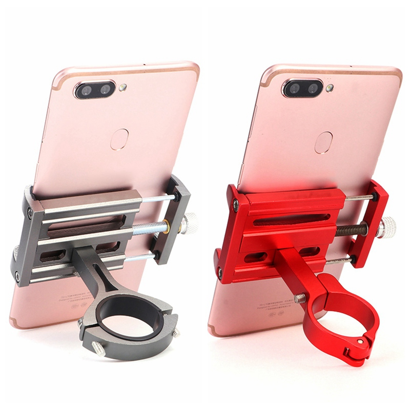 Aluminium Alloy Bicycle Mobile Phone Holder Stand Anti slip Motorcycle Handlebar Metal Adjustable Bike Phone GPS Mount Rack Bicycle Grips     - title=