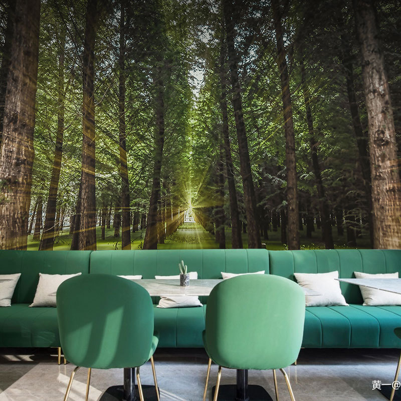 3D Forest Woods Background Space Extension Wallpaper Nature Scenery Theme Restaurant Living Room Hotel Photo Shoot Wall Cloth
