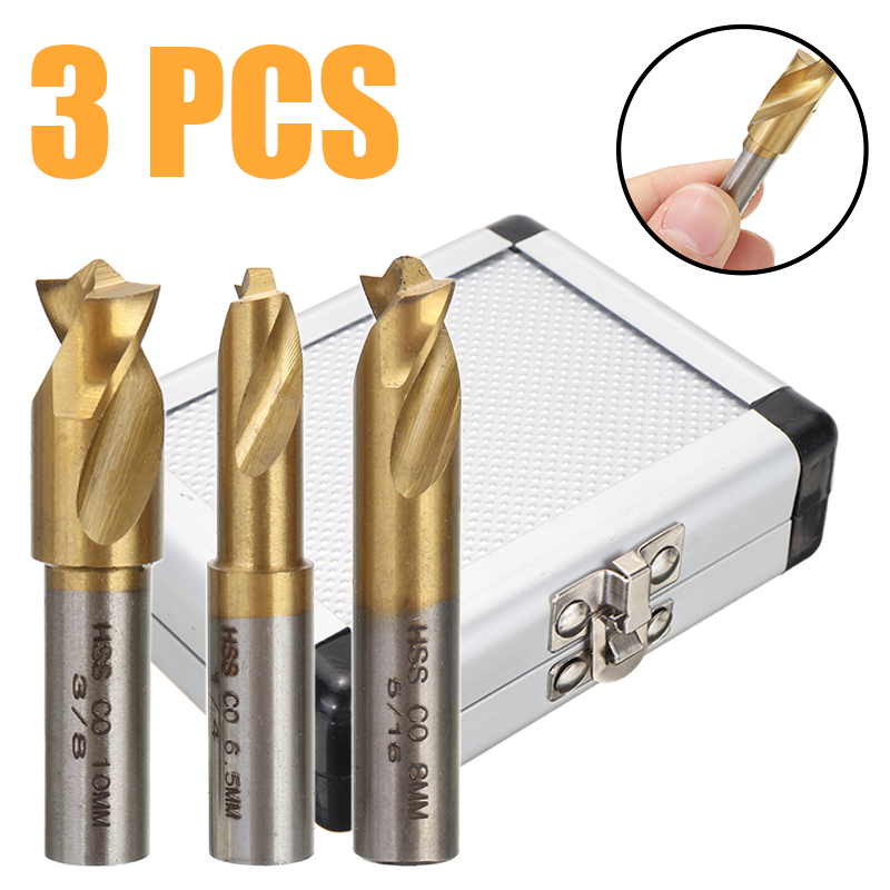 3Pcs  Spot Welding Drill Bit High Speed Cobalt Bit Titanium Spot Weld Drill Bit Cutter Flat Shaft 1/4