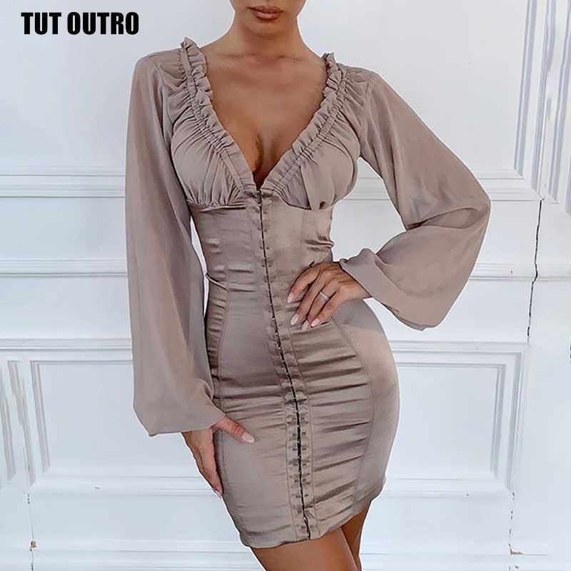 Autumn Fashion Solid Khaki Mesh Patchwork Deep V-neck Mini Dress Sexy Women Puff sleeves Buttock Slim Dress