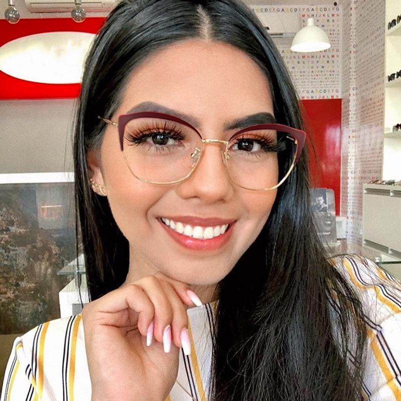 Vintage Fashion Women Eyeglasses Retro Optical Cat Eye Glasses Frame Brand Design Plain Eye Glasses Oculos De Grau Femininos New