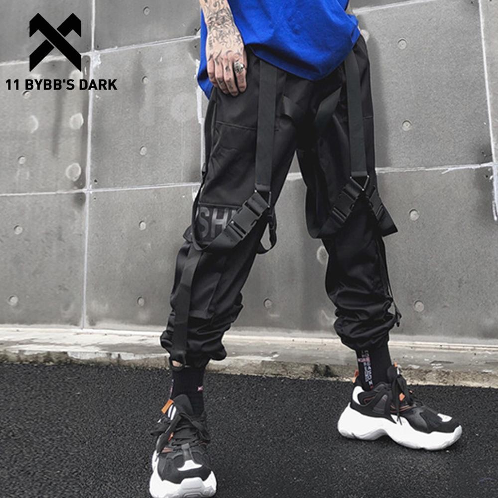 11 BYBB'S DARK Multi Pockets Letter Print Ribbon Cargo Pants Streetwear Casual Harajuku Sweatpants Hip Hop Joggers Men Trousers
