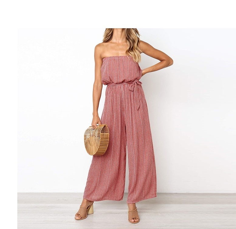 Nice WoMen Off Shoulder Sexy Jumpsuit Sashes Loose Wide Leg Long Romper Strapless Stripe Belted Beach Overalls