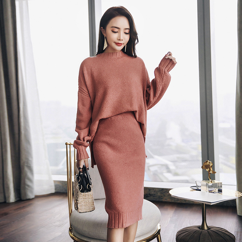 Khaki Knitted Sweater Suits Women Set Top Skirt Warm Solid Two Piece Set Woman Suit Cashmere Suit Skinny Knit Outfits Winter