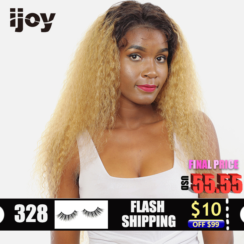 Afro Kinky Curly Human Hair Wig Ombre Honey Blonde 4x13 Lace Front Non-Remy Brazilian Hair Colored Wig 12