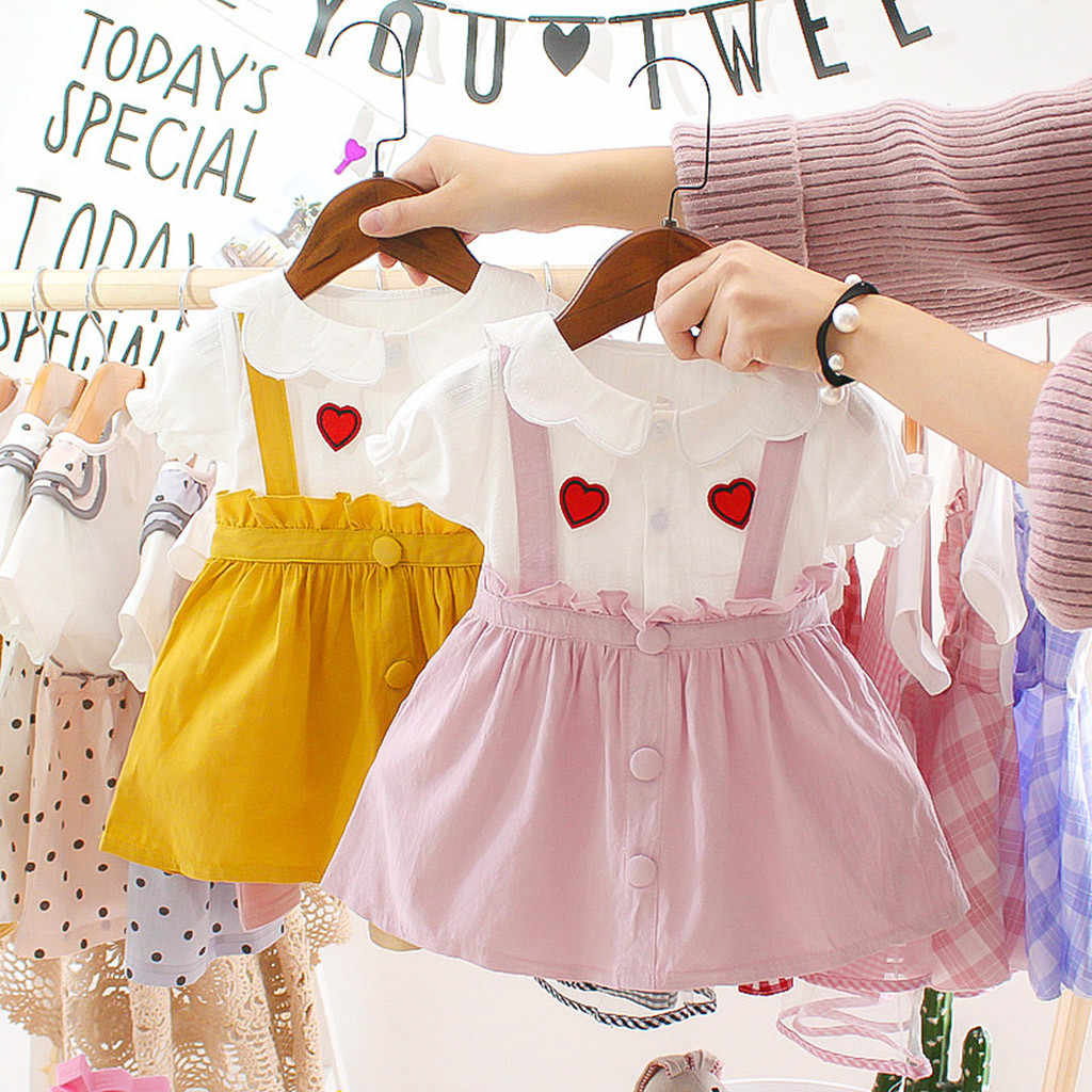 Summer Newborn Baby Girl Dress Short Sleeve Love Print Ruffles Princess Dress Infant Baby Girls Clothesплатья для девочек #10F
