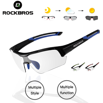 ROCKBROS fotochromowe okulary rowerowe spolaryzowane okulary rowerowe sportowy rower górski rowerowe okulary rowerowe okulary rowerowe tanie i dobre opinie CN (pochodzenie) Photochromatic 10001~10007 MULTI Z poliwęglanu Unisex Octan Jazda na rowerze Two Styles Color Black blue Black red Black green White Black