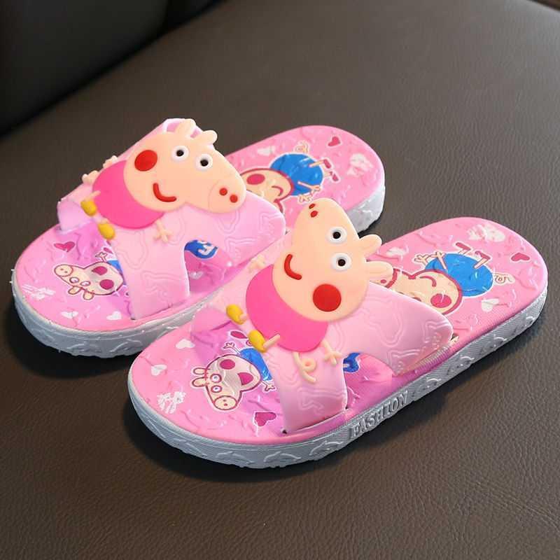 Peppa Pig Children Slippers Toddler Infant Kid Flat Shoes Baby Boys Girls Cartoon Non-slip Bath Home Shoes Summer Beach Sandals