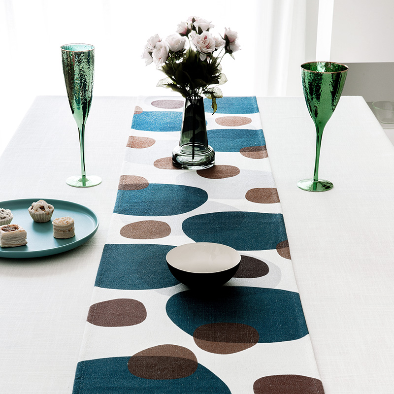 DUNXDECO Table Runner Long Table Cover Fabric Dinner Party Tabelcloth Modern Art Industry Style Geometric Dark Color Fabric