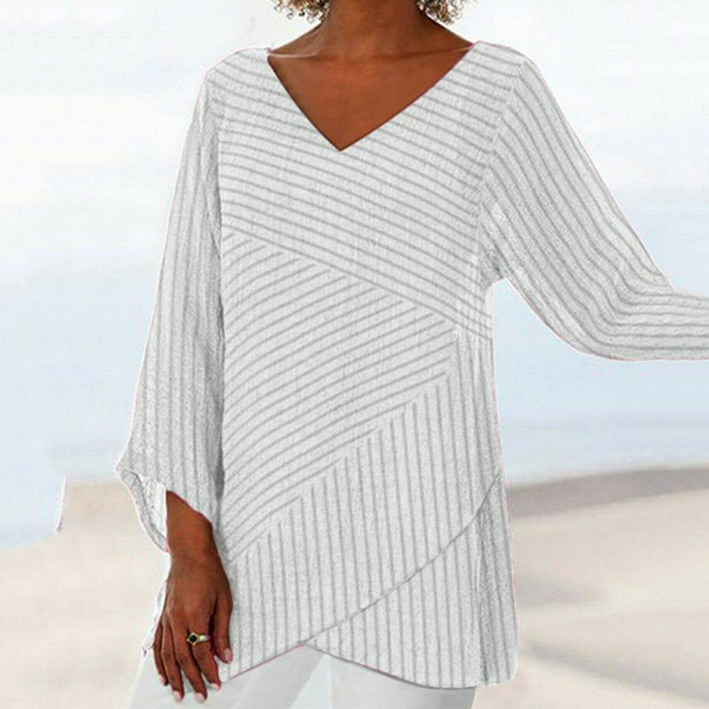 2020 New Spring Women Casual Loose V Neck Blouse Striped Irregular Long Sleeve Shirts Female Fashion Tunic Tops Blouse