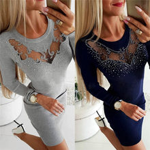 Female Sexy Hollow Out Plus Size Women Beading Mini Dress Package Hip Bodycon Dresses Dress White Dress Mujer Robe Femme N27(China)
