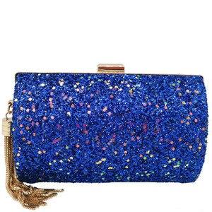 Image 2 - Moda marka niebieski brokat Tassel kobiety torby wieczorowe i sprzęgła Gala kolacja panie metalowa kopertówka torebki torebki damski portfel