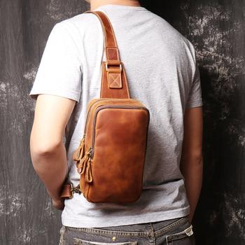 2020 Genuine Leather Men's Crossbody Bag Single Shoulder Chest Sling Pack Bag Leisure Messenger Crossbody Chest Bag for Men New фото