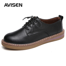 Winter Women Causal Leather Shoes Woman Genuine Leather Flat Bottom Oxfords Shoes British Style Lace-up Flat Shoes Women недорого