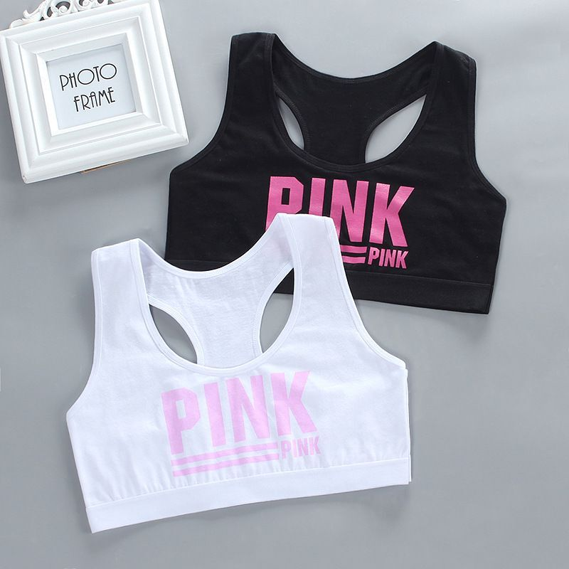 2Pc/lot Teen Girl Sports Bra Kids Top Camisole Underwear Young Puberty Small Training Bra For 8-14years