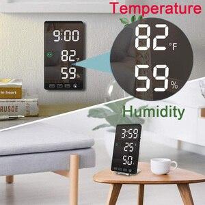 Цифровая метеостанция с будильником и термометром, прикроватный будильник с гигрометром и термометром, с зеркальным экраном|Будильники|   | АлиЭкспресс