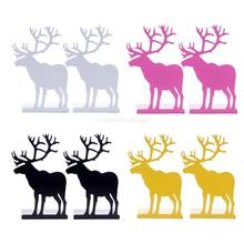 Elk Pattern Book Ends for Book Shelves Metal Book Ends for Home Office Dropship
