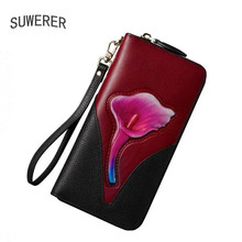 SUWERER NEW Real Cowhide bag Embossing women Genuine Leather bag Fashion flowers woemn Clutch bag