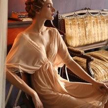 Camisón de encaje con escote en V para mujer, lencería de gran tamaño, uniforme de dama de honor, malla suelta, vestido de noche, ropa de dormir de verano