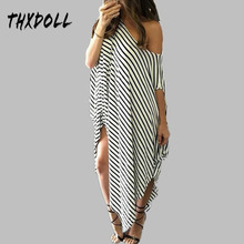 цены Women sexy summer dress hot selling asymmetrical hem O neck off the shoulder off loose black and white striped long dress