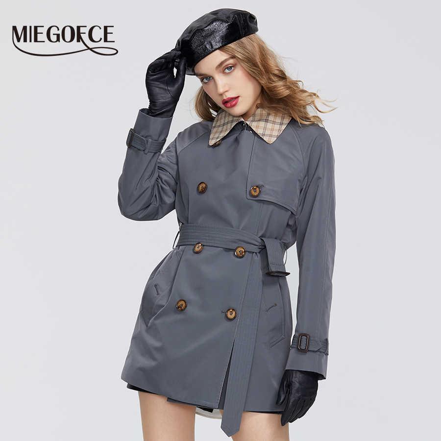 MIEGOFCE 2020 pring Neue Mantel frauen Windjacke Casual Hohe Qualität Windjacke Hat Gürtel Taste Unten Mantel Büro Stil