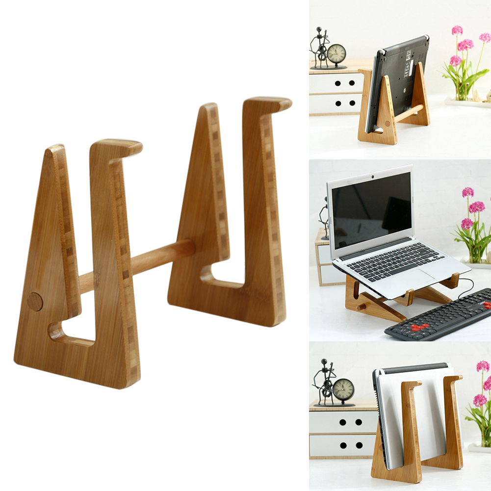 Portable Heat Dissipation Stand Accessories Home Carbonized Bamboo Holder Non Slip Adjustable Laptop Rack Notebook Detachable image