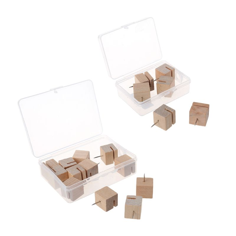 6/12pcs Wooden Square Nail Thumbtack Board Pins Pushpins Drawing Photo Wall Stud