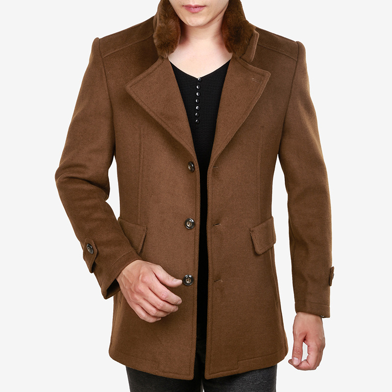 Men Woolen Coat Winter Clothing Thick Warm Brown Wool Blend Coat Casual Faux Fur Collar Oversized Long Overcoat Xxxl Male Top