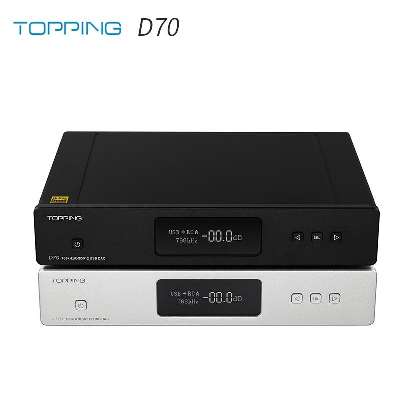 TOPPING D70 AK4497*2 DAC AK4118 Receiver XMOS XU208 DSD512 Native 32Bit/768kHz Hi-Res Audio With Remote Control Decoder