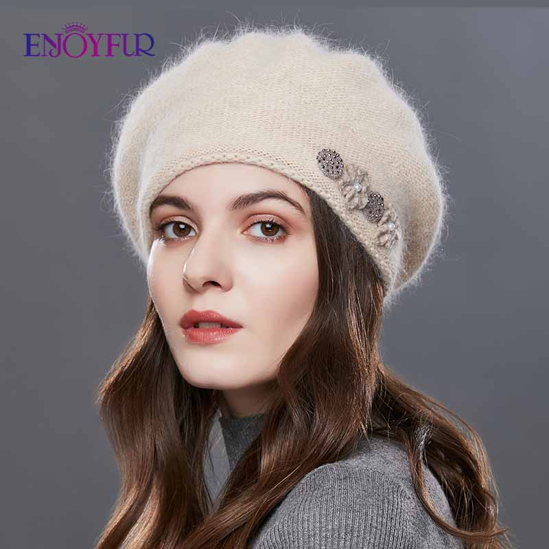 ENJOYFUR Rabbit Knitted Winter Hats For Women Cashmere Warm Beret Hat Female Flower Decoration Lady Middle Aged Cap-in Women's Berets from Apparel Accessories